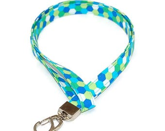 Lime Geo Fabric Lanyard Lobster Claw ID Badge Holder Name Tag Keys