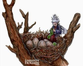 Eggwatcher  - fairy art print