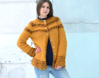 Knitted cardigan, mustard lady sweater, Button up vintage, wool cardigan, long cardigan fashion, Ladies Knitwear, handknit warm jacket