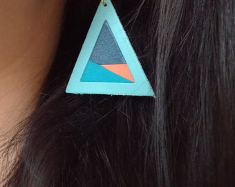 Geometric triangle leather earrings