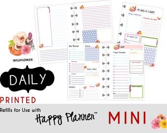 "PRINTED: MINI Happy Planner DAILY Insert  Create365 | mambi | Me & My Big Ideas - ""Wildflower"""