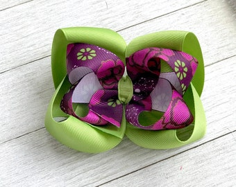Spring Summer Hair Bow - Purple Green - Boutique Hair Bow - Girl Hair Bow - Stacked Twisted Boutique