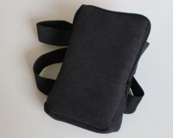 Black Leg Bag, Running, Walking, Summer, Leg purse, Bike ride, Leg garter, Woman, Man, Unisex, June, Fashion, Faux Leather, Black zipper