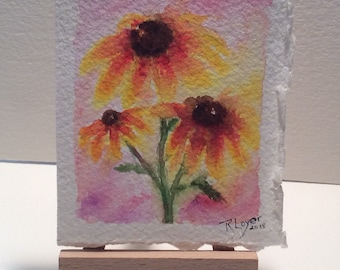 Watercolor Black eyed Susans, tiny painting, original watercolor, small painting, stem of Daisies, painting