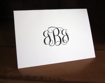 100 (quantity) Monogram Thank You Cards, Folded