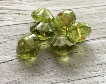 Glass saucer beads - czech glass beads- olive green beads 13x9mm pack of 6