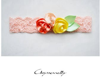 CCC012 - Peach lace baby girl headband with handmade peach, pink and yellow satin roses, mint green satin leaves and peach crystals.