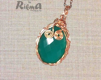 Green Agate pendant, Green Agate gemstone, Green Agate necklace, Copper wire wrapped pendant, Green agate, Free delivery, Graduation gift