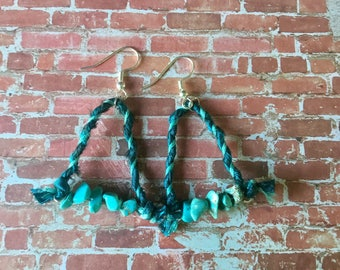 Handmade silk and turquoise earrings