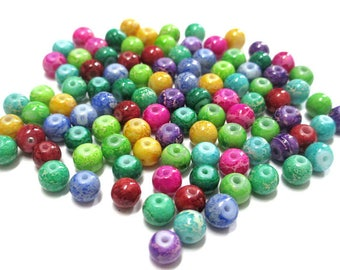 100 glass beads mix color 6mm