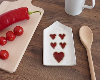 ceramic spoon rest, white house with red hearts spoon holder, pottery spoon rest, kitchen decor, cup coaster