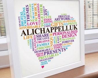 Framed custom print. Unique artwork designed for your home. Customised word art frame.