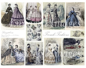 FRENCH FASHIONS digital collage sheet vintage images women ladies antique Paris magazine illustrations dresses altered art ephemera DOWNLOAD