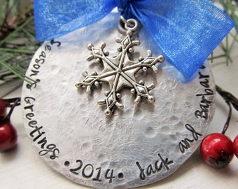 Personalized Christmas Ornament Snowflake Ornament Hand Stamped Christmas Ornament Christmas Tree Decoration Christmas Gift