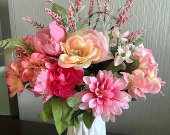 Pastel Floral Arrangment with White Vase