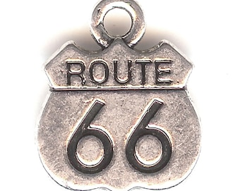 ROUTE 66 Charm. Silver Plated. Two Sided  Highway Sign. Get Your Kicks. ali