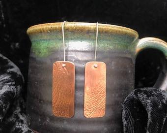 Copper leaf imprint earrings