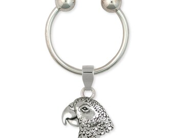 Solid African Grey Parrot Key Ring Jewelry Sterling Silver AF2-KR