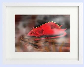 Print of Sleeping Dragon in Fiery Cave