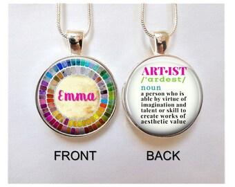 Artist Necklace- Watercolor Palette necklace - Artist pendant -Gift for Artist -Gift for Painter- Artist definition Pendant