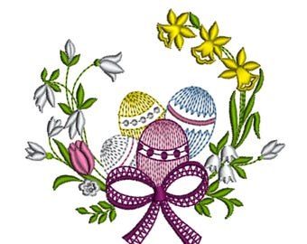 Easter Eggs Spring Flowers Snowdrops Daffodil Holiday Easy Stitching Traditional Heirloom Machine Embroidery Design Download Hoop 4x4