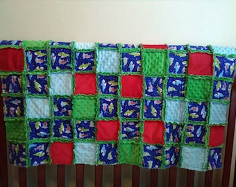 Sharks! Child/Small Throw Size Rag Quilt