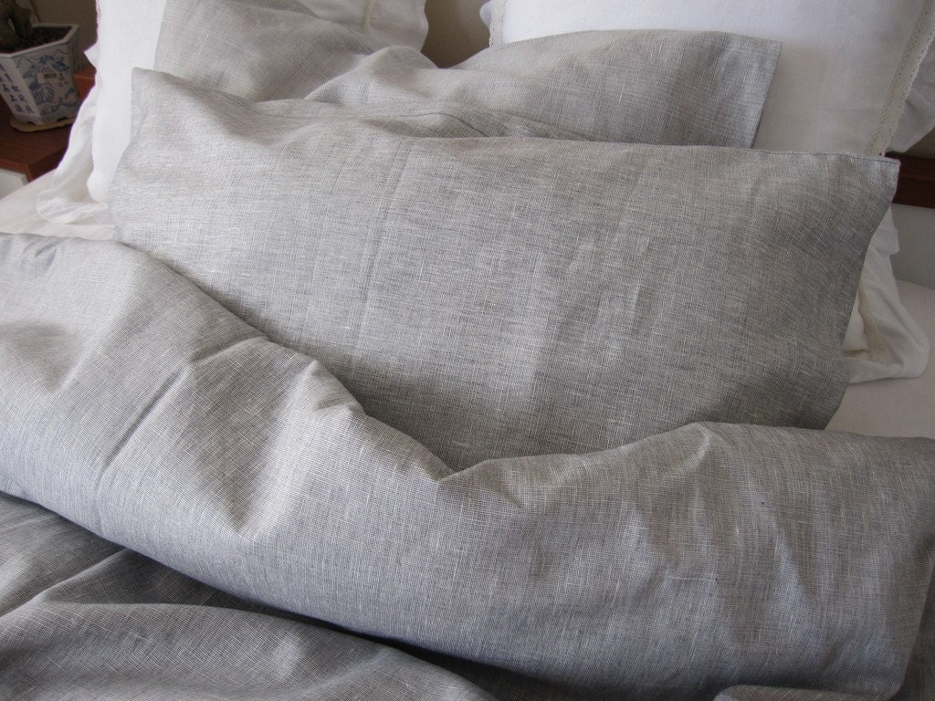 Solid gray grey linen Full Queen KING duvet cover with bedding : linen quilt king - Adamdwight.com