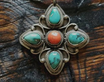 Sterling Silver Turquoise Coral Necklace!