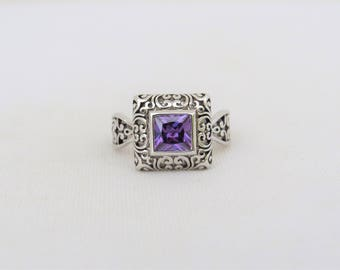 Vintage Sterling Silver Princess cut Amethyst Filigree Ring Size 7