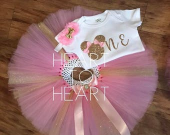 Minnie mouse birthday tutu outfit, first birthday tutu outfit, Girls birthday outfit set, pink and gold birthday outfit set, Minnie mouse