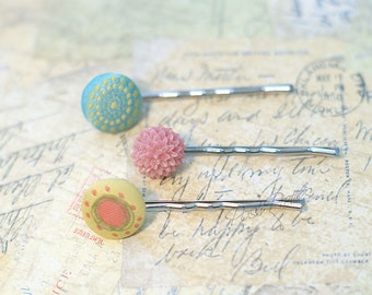 Covered Button Bobby Pin, Bobby Pin Set,  Planner Clips, Planner Accessories, Pink and Turquoise