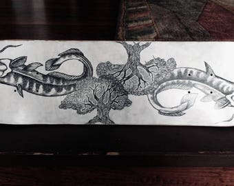 Catfish Nature Deck Hand Drawn Graphite Design Skateboard