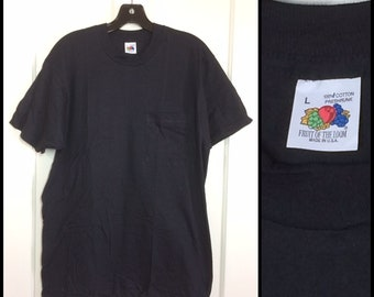 deadstock 1980's Fruit of the Loom pocket tee plain blank thin t-shirt size large black all cotton NOS 19.5x28.5 made in USA #3