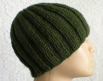 Khaki army green ribbed beanie hat, knit hat, toque, green hat, beanie hat, mens womens hat, green knit hat, ski skateboard, hiking biker V3