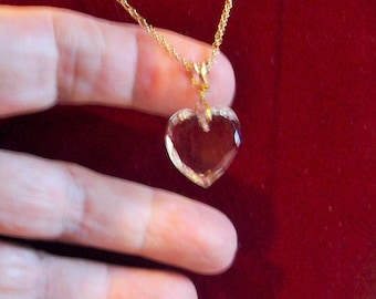 Vintage NEW Gold Filled Necklace  Chrystal Heart Gold Bail and Chain   Circa 1989