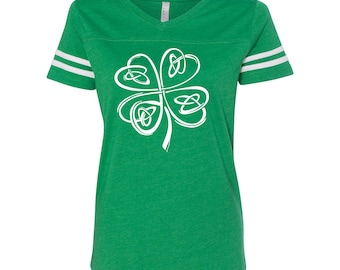 Irish Shamrock Clover Pride St Paddys Day Women's Football Jersey DT0906
