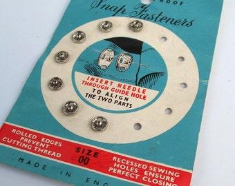 Vintage Silver Rustless Metal Snap Fasteners - Size 00 - Craft Supplies