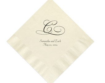 Initial Wedding Napkins Personalized Set of 100 Napkins Monogrammed