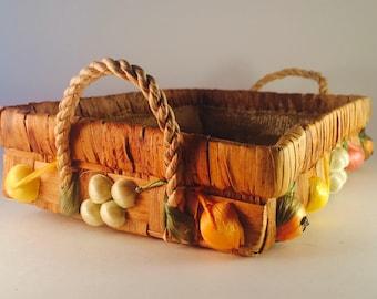 1960's Wicker Raffia Basket