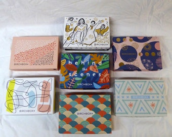 Birchbox Branded Empty Box Recycle Lot of 7 Different Colorful Designs 7 x 5 x 1 7/8 inches each