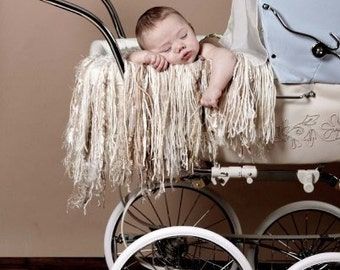 Taupe, Creme Prop Baby Newborn Fringe Blanket Photo Prop