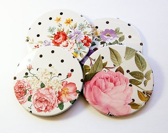 Flower Coasters, Floral Coasters, Coasters, Barware, Hostess Gift, Housewarming Gift, Polka Dots, Flowers, Roses, Floral (5092)