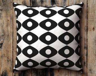 Black and White Pillow Case, Sixties, Midcentury Pattern, Graphic, Cushion Cover, Pillow Sham