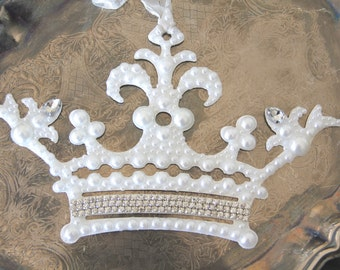 Pearl Ornament, Metal Crown ornament, Mediterranea Design Studio, wedding decor, crown holiday decor, rhinestone ornament