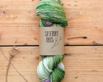 Hand dyed yarn - Glimpsing Crocus - Merino wool/ nylon sock yarn