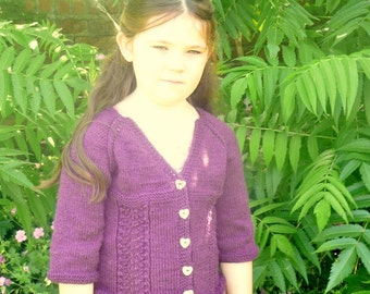 Knitting Pattern Baby Child Cardigan Sweater - Freya a Frilly Lacy Top Down Seamless Cardigan (6 Sizes, 0 - 7 yrs)