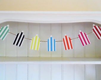 Beach Hut Bunting-Hand Painted-Wooden Bunting-Hot Summer Colours-Seaside Garland-Beach Wedding Decor-Home Decor-Nursery Decor-Gift for Her