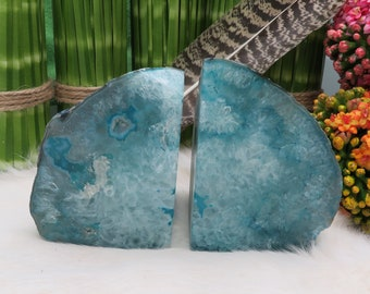 Agate Book End -- Blue Dyed Half Geode Druzy Bookend Rock Formation - Lovely Bookend (BD4-04)