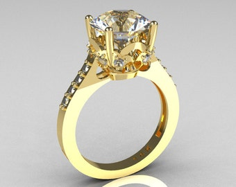 French Bridal 14K Yellow Gold 3.0 Carat White Sapphire Solitaire Wedding Ring R301-14YGDWSS