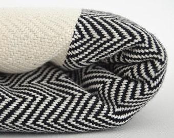 SALE 30 OFF/ Herringbone Blanket / Black / Twin XL / Bedcover, Beach blanket, Sofa throw, Traditional, Tablecloth